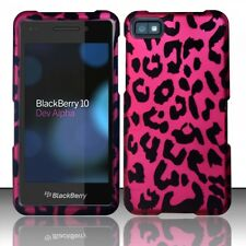 For BlackBerry Z10 Rubberized HARD Case Snap On Phone Cover Hot Pink Leopard