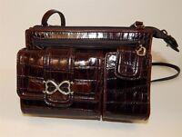 Brighton Brown Croc Leather Organizer Crossbody Bag