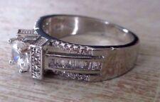 Grande belle bague bijou en argent 925 zircon blanc cristaux diamant Taille 59