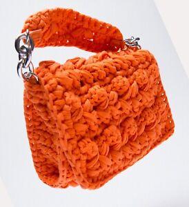 ZARA NEW WOMAN WOVEN FABRIC CROSSBODY BAG ORANGE one size 6403/710