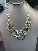 """Alfani Statement Necklace Black Gold Silver 18"""" Chain Bib Dangle Circles"""