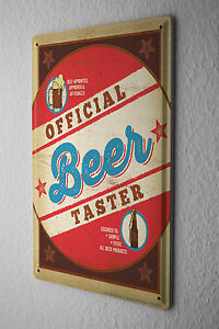 Beer Tin Sign Retro Deco  Official Beer Tester Fun Party Room Wall Vintage Decor