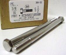 3/8-16x5-1/2 Hex Head Cap Screws 304 Stainless Steel (2)
