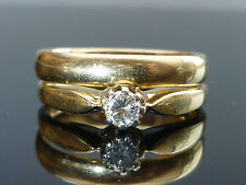Stunning 14ct gold diamond solitaire engagement & wedding bridal rings set Av27