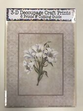 'White Lillies by Eileen' Set of 6 Prints and Cutting Guide for Decoupage