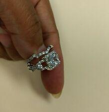 925 Sterling Silver White Sapphire Gemstone Wedding Ring Size 6. 2pc set.