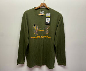 NEW Under Armour Mens Camouflage Long Sleeve Loose Fit Olive Green T Shirt Camo