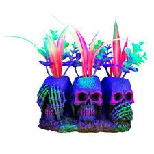 Marina iGLO Aquarium Tank Fluorescent Ornament 3 Skulls with Plants Small 14cm