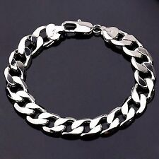 Sale 22cm 18K White Gold Plated Curb Chain Men's Bracelet, Birthday Xmas Gift