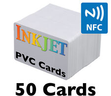 50 Inkjet PVC Cards w/ NTAG215 NFC Chip - For Epson & Canon Printers