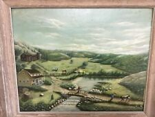 Folk Art Landscape Farm with Animals Oil On Board Connecticut