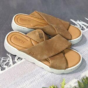 NEW Born Awuna Tan Leather Platform Slides Sandals Mules Slip On Women's Size 7