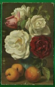 Still life postcard/ white, pink & red roses/ peaches/ gold bkgrd/ non-linen pc