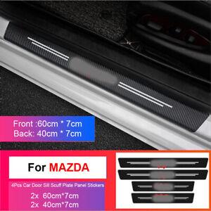 4pcs 3D Door Sill ProtectorCar Sticker Carbon Fiber Scuff Plate Trim For Mazda