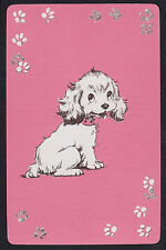 1 Single VINTAGE Swap/Playing Card DOG PUP & PAW PRINTS ID 'DRESDEN DS-8-11'