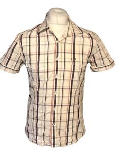 Jack & Jones Men's Shirt White Check Short Sleeve Medium ALF Cotton Blend Marks