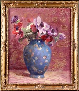MAX TOURET (1872-1963) SIGNED FRENCH POST IMPRESSIONIST OIL FLOWERS - EXHIBITED