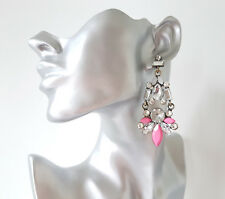 GORGEOUS 8cm Long Burnished gold tone & clear crystal & pink bead drop earrings