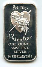1973 Be My Valentine 999 Silver 1 oz Art Bar ingot Medal ounce Vintage - BJ844