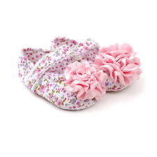 New Baby Satin Flower Florall soft sole crib shoes 0 - 6 Months