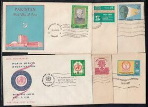 PAKISTAN Six FIRST DAY COVERS Lot A (Hockey, UN Agencies, Ali Jinnah)