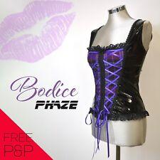 Phaze Alternative Clothing Purple Tartan Gloss PVC Bodice Corset Sz10- Goth Punk