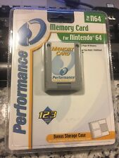 Nintendo 64 Performance Memory Card 123 Pages includes bonus storage case - NEW!