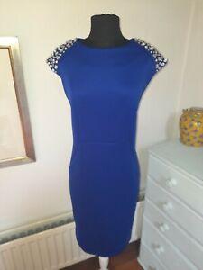 Royal Blue  FENN WRIGHT MANSON Jewelled Occasion Stretch Dress - Size 14