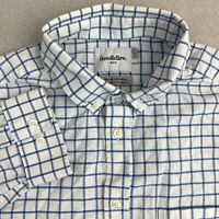 Goodfellow Button Up Shirt Mens Large Blue White Long Sleeve Standard Fit Check