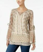 NEW Style & Co Lined Chiffon Printed Lace Up Tunic Top Cream Multi Sz XL $54 S4