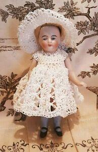 Dress & Hat Crochet for 4 - 5 Inch All Bisque Antique Vintage Mignonette Doll