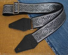 SILVER GOTHIC CROSS Cotton USA made TROPHY Guitar Strap