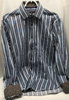 BUGATCHI Uomo Mens Long Sleeve Cotton Blue White Black Striped Sport Shirt Large