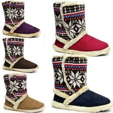 Ladies Slippers Womens Fairisle Ankle Knitted Winter Warm Fur Boots Booties Size