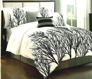TREE BRANCH VELVET EMBROIDERY AVANT-GARDE MODERN 7PIECE SILKY COMFORTER SET $345