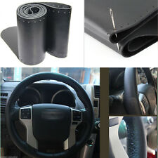 Universal Car Steering Wheel Cover Genuine Leather Stitch On Wrap Medium Black