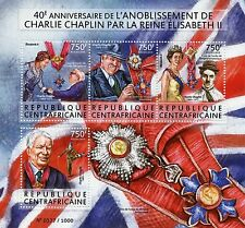 Central African Rep 2015 MNH Charlie Chaplin Knighthood Queen Elizabeth II 4v MS