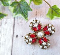 Vintage Maltese Cross Style Brooch - Faux Pearl & Red Crystals