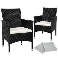 2 x Ratán sintético silla de jardín set sillón exterior balcón terraza negro