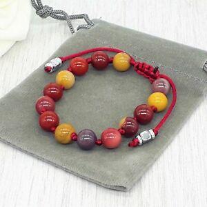 Handmade Adjustable Mookaite Gemstone Cord Bracelet & Velvet Pouch. 6/8mm.