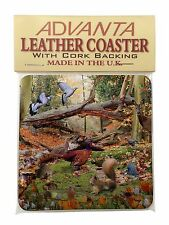 Woodland Forest Wildlife Animals Single Leather Photo Coaster Animal Br, AB-50SC
