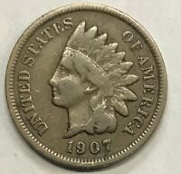 1907  INDIAN HEAD CENT  ****  NICE CIRCULATED COIN - L@@K AT PICTURES!!!!!  #489