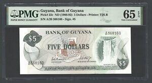 Guyana 5 Dollars ND(1966-92) P22c Uncirculated Grade 65