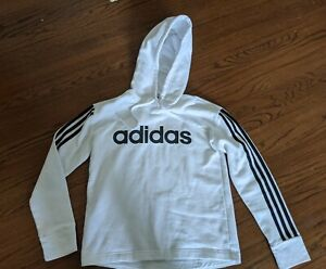 NEW Adidas Essentials Linear Pullover Hoodie White with Black Logo Women's S
