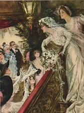 """~Post Card~""""Victorian Newlywed Bride Tossing Bouquet to Group/Friends"""" (B-270)"""