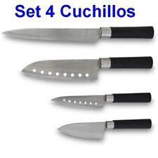 Set 4 Cuchillos con hojas de acero inoxidable, trinchar, chef, multiusos,picar