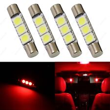 4 x Red 28mm 3SMD T6 6641 LED Bulbs Sun Visor Vanity Mirror Fuse Lights + TOOL