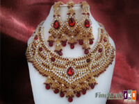 Gold Plated Bridal Kundan Zerconic Bollywood Necklace Set Earring Tika Jewelry -