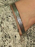 Eternity Meander SILVER Bangle Bracelet women Greek Key Her HANDMDE Jewelry gift