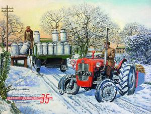 Massey Ferguson 35 Tractor Milk Churns Winter Scene Small Metal/Steel Wall Sign